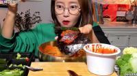 韩国吃播 美食吃货Dorothy欧尼宽粉小姐姐诶 半干鲱鱼和冷面
