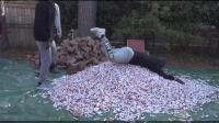 国外小哥送惊喜, 后院摆放100万枚硬币送给爸爸! 爸爸: 快收拾好