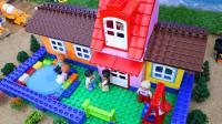 用积木建一个有游泳池的别墅小屋