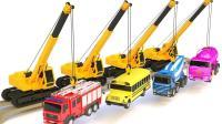 认识不同类型的工程车挖掘机推土机玩具
