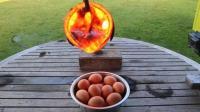 把高温熔岩倒在一盆鸡蛋上面, 鸡蛋会被烫熟吗? 一起见识下!