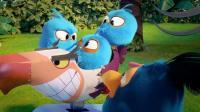 愤怒的小鸟:大蓝鸟做了玩具车,蓝弟弟们争先抢后的想玩车!