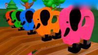 益智动画英语早教, 3D木制大象玩滑梯学习颜色和数字1到10!
