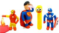 少儿动漫儿童英语彩泥都变成了超级英雄超强力量数字制作惊喜彩蛋