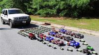 不用加油, 小伙用遥控玩具车拖动大吉普, 猜他用了多少玩具车