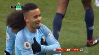 英超-热苏斯双响萨内两助攻 曼城3-1客胜埃弗顿