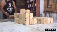 外国小哥制作桌面, 把木桩切成一段一段再拼接!