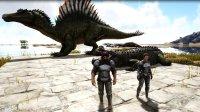 方舟生存进化-恐龙游泳大赛 鳄鱼VS巨型水獭 结果你能猜到吗
