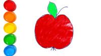 如何画红色苹果 儿童绘画 学习儿童色彩 儿童简笔画 填色