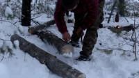 荒野生存 野外求生 原始技能 露营 旅行 在冬天和、哈士奇、篝火上的肉一起去森林