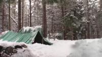 荒野生存体验之冬季野营-防水布帐篷-第一次在防水布里过夜的冬天