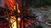 荒野生存体验之独自冬季丛林艺露营 帆布帐篷, 营火烹饪