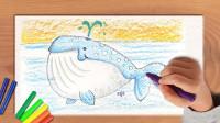 儿童基础蜡笔画巨大的蓝鲸-飞童亿佳海洋绘画公开课