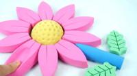 太空沙制作彩色小花朵