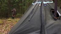 荒野生存体验之单人冬季露营-帆布帐篷, 柴炉篝火, 户外烹饪