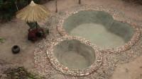 荒野生存 原始技能 生存哥 用石头打造游泳池