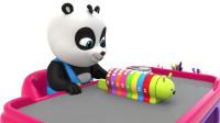 和小熊猫一起制作毛毛虫