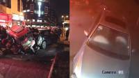 监拍: 四川男子驾车撞上人行道致5伤