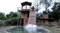 野外生存  生存哥 建造建游泳池