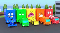 汽车总动员: 大卡车运来水泥搅拌车 环保车 推土机 卡车玩具工程车