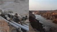 宁夏圆疙瘩湖突发溃口 路面被冲出深20米深沟