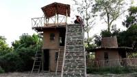 荒野生存 原始技能 生存哥用古老的技巧建造三层房屋, 带滑水道的游泳池