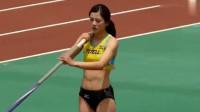 美女参加撑杆跳比赛, 你确定她不是来搞笑的吗? ! 网友: 要多练练