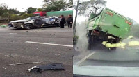 1死1伤! 广东佛山两货车相撞引发连环车祸