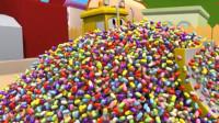 儿童工程车: 推土机被七彩巧克力糖果困住超级卡车救援