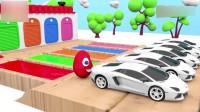 幼儿色彩启蒙: 3D彩蛋把小汽车染成五彩缤纷的颜色