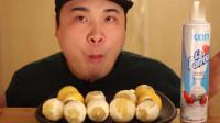 韩国吃播大胃王胖哥, 吃超多柠檬和奶油罐, 表情吃的好痛苦