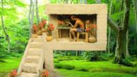 男子户外建造泥巴庇护所,泡壶小茶假装生活很惬意!