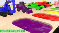 挖掘机装载机搅拌车压路机卡车在颜料池染色 家中的美国学校