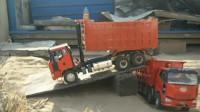 重型卡车Rc电控模型玩具模拟真实卡车满载沙石卸车倒车,逼真的卡操纵体验