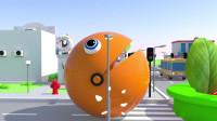 趣味益智动画片 大嘴怪在城市里到处吃水果