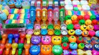 diy史莱姆教程,彩虹盒混合宠物泥、蝴蝶泥、饮料泥、压力球,最后颜色超梦幻