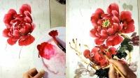 深红牡丹的完整构图画法-小石国画入门.