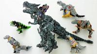 变形金刚6个不同版本的机械恐龙钢索机器人变形玩具