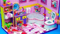 给hellokitty做迷你又漂亮的浴室,做法简单物品齐全,手工diy