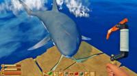 木筏求生01:灾难中我侥幸存活,用钩子对抗攻击的鲨鱼