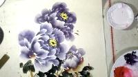 写意紫色牡丹的完整画法-小石国画
