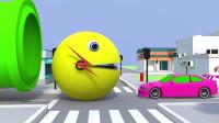 趣味益智动画片 大嘴怪在城市里乱吃汽车