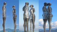 世界最虐心雕塑,可移动设计,不停融合又分开,吸引无数游客