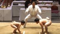 日本儿童相扑赛小个子扳倒大块头