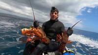 潜入海底徒手捕大龙虾,轻轻松松抓到好几只,说不羡慕是假的!