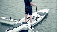 """带""""翅膀""""的电动独木舟,有浪也不怕翻,是钓鱼神器时速16公里"""