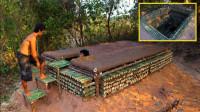 原始技术,两兄弟搭建地下竹屋,很有创意的想法!