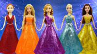 芭比娃娃装扮秀:用彩泥为5个迪士尼公主打造炫彩连衣裙