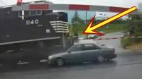 女司机眼看火车冲了过来,赶紧下车撒腿就跑,还来得及吗?