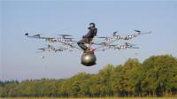国外打造奇葩直升机,搭载16个螺旋桨,人坐在球上起飞!